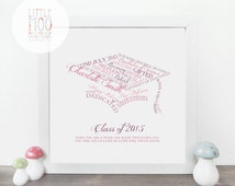 Personalised Graduation Print - Graduation gift - End of term gifts - home decor - congratulations gift - gifts for her - personalised print