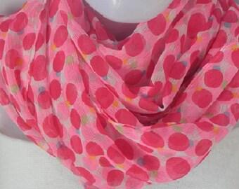 Hot pink Chiffon scarf,Light weight,Polka dots,Summer scarf,scarf,Women Fashion Accessory,Dot scarf,African Head wrap,Wedding season scarves