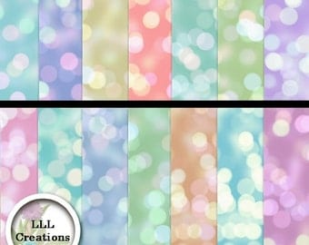 LLL Scrap Creations - Pastel Bokeh Papers - Digital Scrapbooking