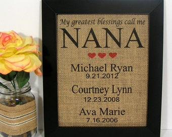 Personalized Gift For Nana, My Greatest Blessings Call Me Nana, Birthday Gift for Nana, Burlap Print, Gifts for Grandma, Family Dates