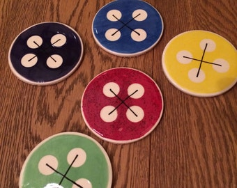 ONE Adorable Button-style Corked-backed Ceramic Coaster in any colour you like - made to order
