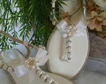 Bridal Wedding Sandals With Crystals and Pearls/Beach Wedding/Destination Wedding/Beach Wedding Sandals
