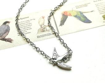 Swallow Necklace // Silver Swallow Necklace // Silver Necklace // Swallow Jewelry //  Silver Bird Jewelry // Bird Jewelry // Bird Gift