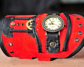Leather steampunk watch, red