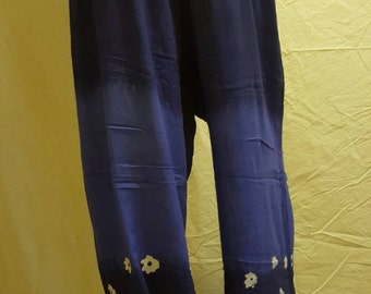 Hand designed batik pants, tie dye blue