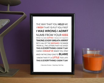 Framed - 5 Seconds of Summer - Everything I Didn't Say - Poster Art Print - 5x7 inches