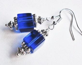 Sterling Silver Cobalt Blue Earrings, Cobalt Blue Wedding Jewelry, Blue Bridesmaid Earrings, Sapphire Bridal Jewelry, Sapphire Blue Earrings