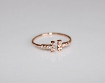 Crystal Double T Ring