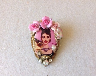 Audrey Hepburn's ring porcelain cabochon, porcelain orchid,rhinestones and pearls