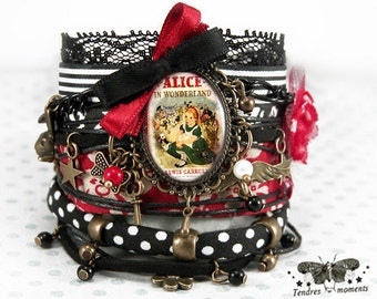 """Bracelet """"Alice in Wonderland"""" red, black, fabric, flower, beads and charms"""