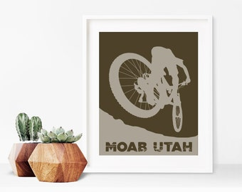 Moab, Utah Mountain Biker Print ~ Moab Art Print ~ Mountain Bike Art ~ Moab Poster ~ Mountain Bike Gift ~ Moab Mountain Bike ~ Bike Gifts