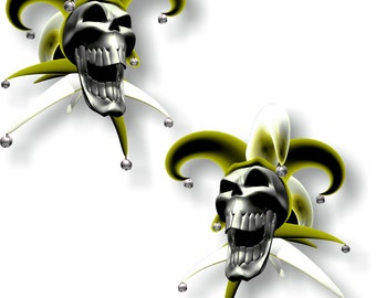 Vinyl sticker/decal Jester laughing skull yellow