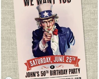 Uncle Sam Patriotic Birthday Invite. - Printable