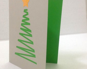 Christmas Tree Card , Blank inside , holiday , start, green, winter, celebrate , free confetti
