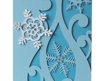 Snowflake Dreams Christmas Card, Blank, Free Confetti , bling, glitter, rhinestones , family, friends, invitation , party