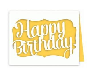 Happy Birthday Die cut Card, friend, family, co-worker, FREE CONFETTI, men, women, teens, kids
