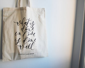 What is Done in Love / Van Gogh - Natural Cotton Tote Bag / Market Bag / Shopping Bag