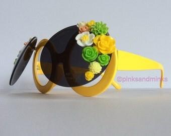 Chelsea In Bloom III - Oversized Flip Up Yellow Round Embellished Sunglasses Eyeglasses Flowers Sunnies