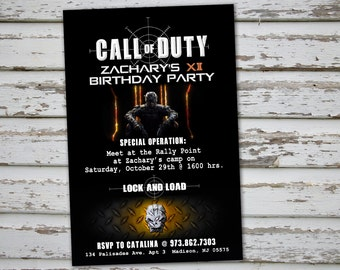 CALL OF DUTY - Invitation  – Digital file, Call Of Duty party, Call of Duty party's decoration, Action, War party, Video Games, Black Ops