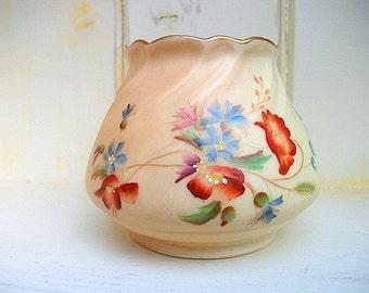 SALE -RARE - Royal Worcester Blush Ivory Squat Porcelain Vase - Hand painted collectors item - Circa 1910