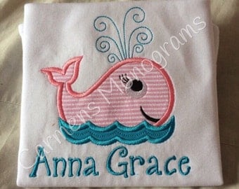 Personalized Whale Appliqued Tshirt or Bodysuit