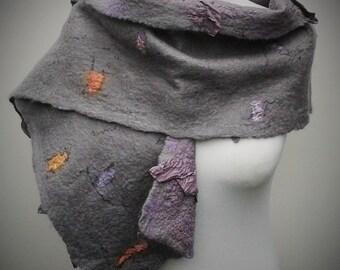 Grey and mauve nuno felt scarf