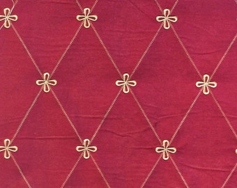 Fabricut Gold Medallion Embroidery on 100% Pure Dupioni Silk