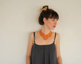 Orange Crochet necklace Faux pearl necklace Knitted necklace Gift for her Crochet jewelry Bohemian necklace Gypsy Necklace Boho