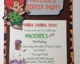 Pebbles, Bam Bam Invitation Flintstone Birthday Party, Pebbles Birthday Party, Flintstones Bam Bam Bedrock Birthday Invite
