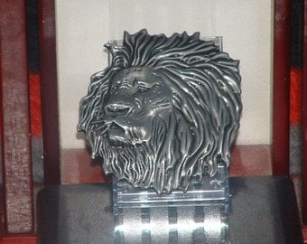 New Leo Lion Head Metal Pewter Finish Belt Buckle