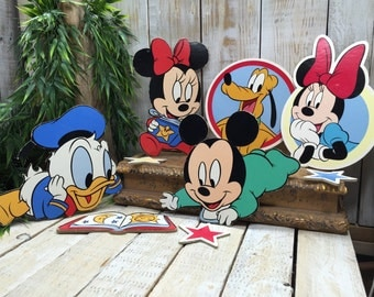 Vintage Disney, Baby Mickey Mouse, Baby Disney Characters, Baby Minnie Mouse, Baby Donald Duck, Baby Pluto, Vintage Disney Wall Decor