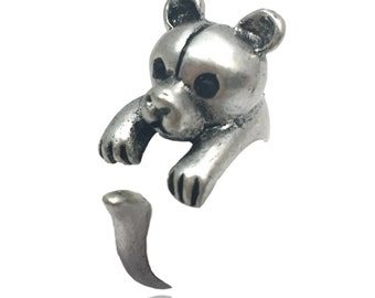 Bear Ring- Antiqued Silver Toned - Adjustable