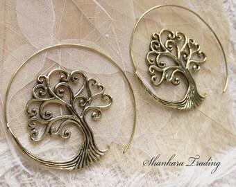 Tree Of Life Earrings, Tribal Brass Earrings, Tree Of Life Jewelry, Gypsy Hoop Earrings, Ethnic Earrings, Boho Brass Jewelry