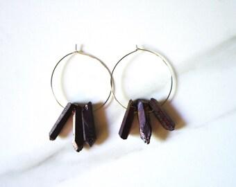 raw crystal quartz hoop earrings