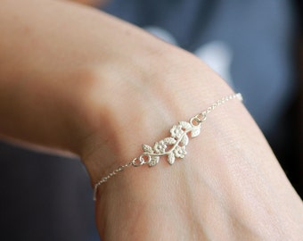 Sterling silver bracelet , Branch bracelet, silver chain bracelet, leaves and flower, delicate bracelet, thin bracelet, dainty bracelet