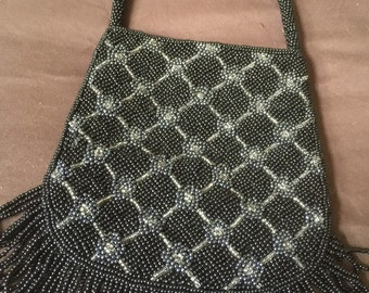 Black and Silver/white Vintage Beaded Bag Purse