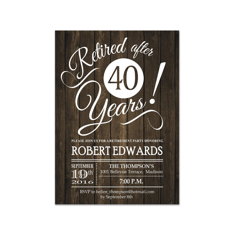 Retirement Party Invitation / Rustic Retirement Invite / Printable ...