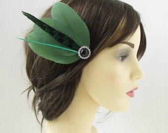 Khaki Green Black Silver Feather Fascinator Hair Clip Races Vintage 1920s 126