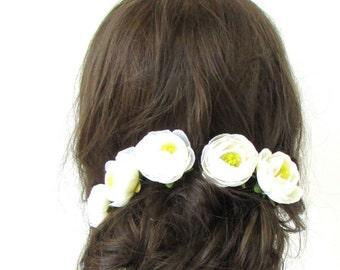5x Ivory White Cream Ranunculus Flower Hair Pins Bridal Bridesmaid Clip Rose 505