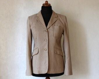 DKNY Ivory White Brown Gingham Checkered Blazer Women's Wool Blazer Size Medium