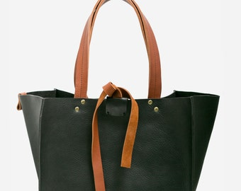 SHIRE leather tote bucket bag