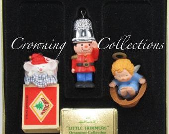 1979 Hallmark Little Trimmers Keepsake Ornament Set of 3 QX159-9 Vintage Thimble Soldier Matchless Mouse Matchbox Angel Walnut Shell RARE