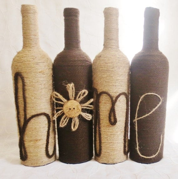 Yarn and twine wrapped wine bottles mother 39 s day gift for Wine bottle crafts for sale