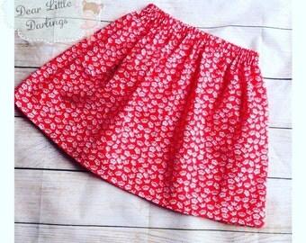 Girls Skirt, Elasticated Waist, Crown Print Skirt