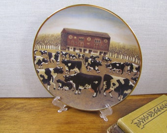 The American Folk Art Collection - Lowell Herrero - Spring Pasture - Cow Plate