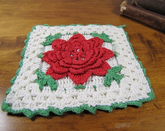 Vintage Crocheted Pot Holder - Red Flower