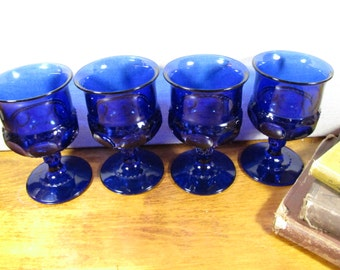 Cobalt Blue Goblets - Kings Crown and Thumbprint Pattern - Set of Four (4)