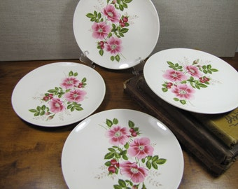 Wild Pink Rose Bread and Butter Plates - Set of Four (4)