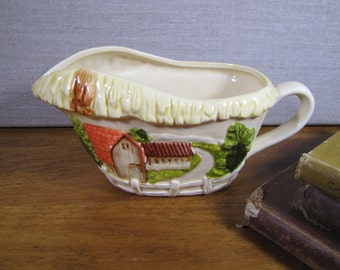 Glazed Ceramic Gravy Boat - Barn and Fence - Creamy Yellow