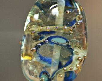 Handmade Lampwork Focal Bead Earth Transparent Blue Gold